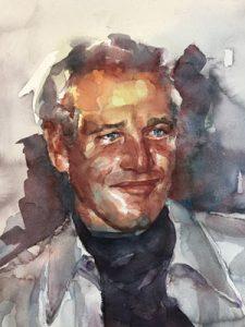 Retrato en acuarela de Paul Newman
